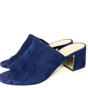 Tory Burch Suede Salinas Navy blue Slide sandals